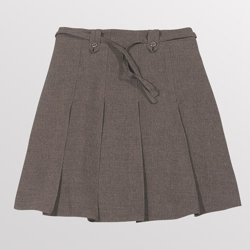Girl's Knife Pleat Ribbon Skirt - Primary-grey