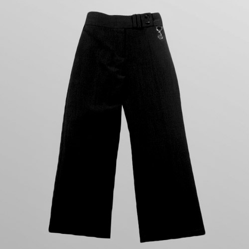 Girls 2 Button Heart Ring Bootleg Trouser-black