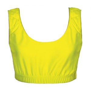 Girls' & Ladies' Hi-Stretch Shiny Crop Top-yellow