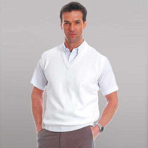 Men's Fine-Knit V-Neck Sleeveless Tank-Top (100% High Bulk Acrylic)