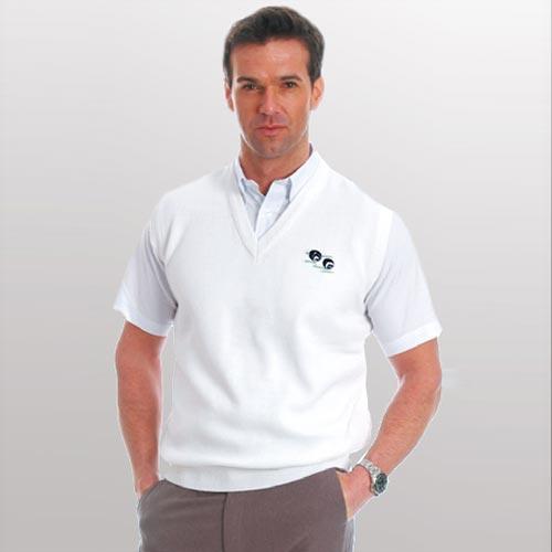 Men's Fine-Knit V-Neck Sleeveless Tank-Top with logo (100% High Bulk Acrylic)