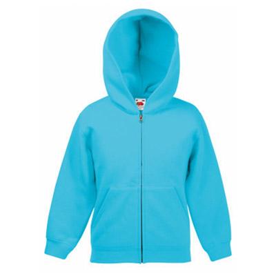 Kidswear, schoolwear, hooded, sweatshirt, full-zip, Double fabric, Kids' Hooded Full-Zip Set-In Sweatshirt - from CKL- SSHZK • Double fabric hood without drawcord in line with EC childrenswear legislation • Set-in sleeves • Jersey back neck tape • Narrow covered zip for enhanced printability • Two deep front pouch pockets -azure-blue