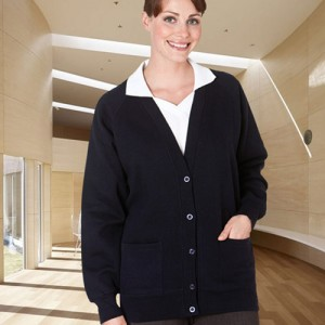 Button-Front Sweat Cardigans-NAVY