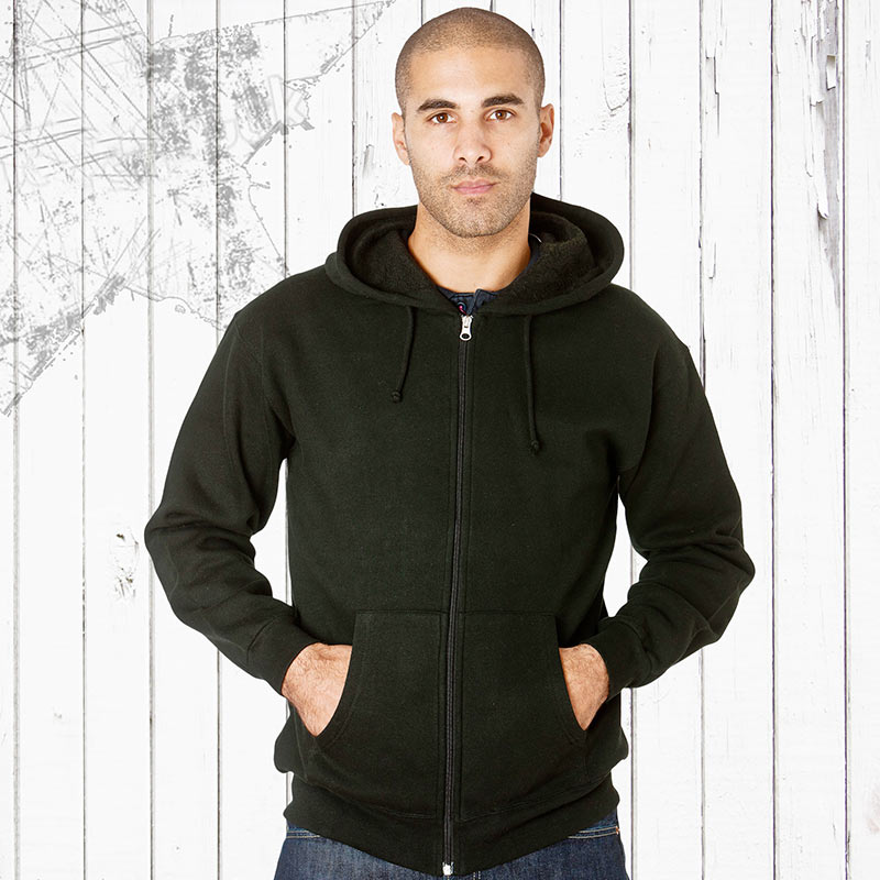 315g 70/30CP Hooded Full-Zip Set-In Sweats Black