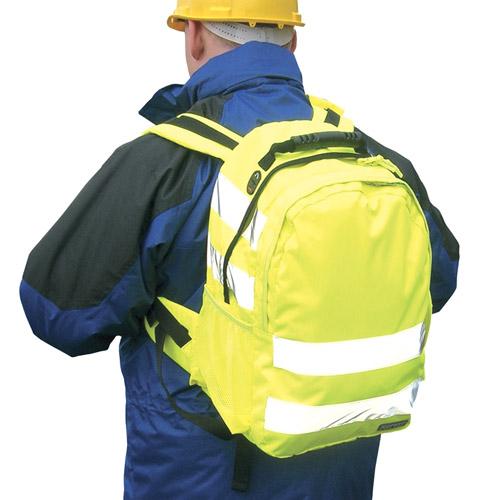 Hi-Vis rucksack - from CKL - £23.15 - 5cm HiVis Tex reflective tape • Reinforced adjustable straps • Waist straps • Padded back panel • Mobile phone pocketWBA905-yellow