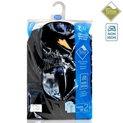 CSHB11-CKL Schoolwear TWINPACK Boys School Shirt L/S-black-pck