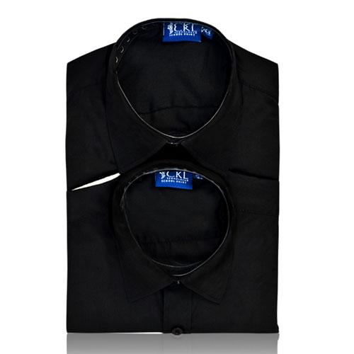 CSHB11-CKL Schoolwear TWINPACK Boys School Shirt L/S-black