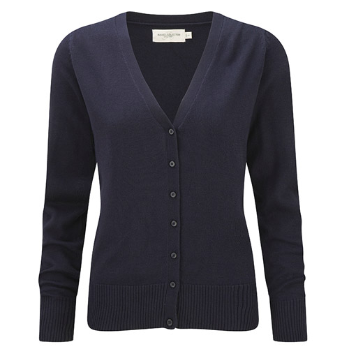Ladies V-Neck Knitted Cardigan-JCAL715-navy