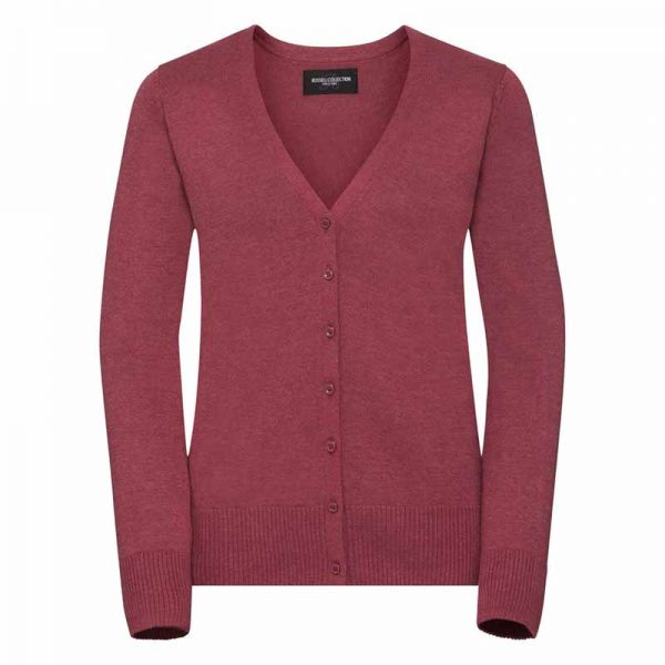 275gsm 50/50 C/AC Ladies V-Neck Knitted Cardigan - JCAL715-cranberry