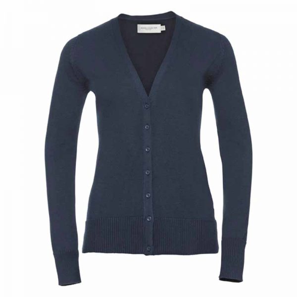 275gsm 50/50 C/AC Ladies V-Neck Knitted Cardigan - JCAL715-french-navy