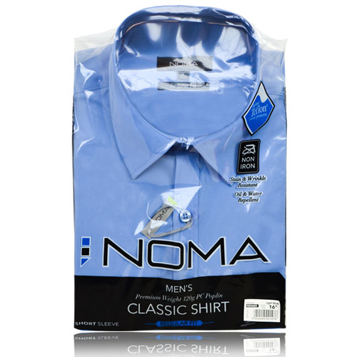 NSHA02-Noma Men's Tailored Classic Shirt S/S-blue-pck