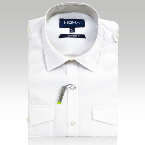 NSHA03T-Noma Men's Tailored Pilot Shirt L/S-white