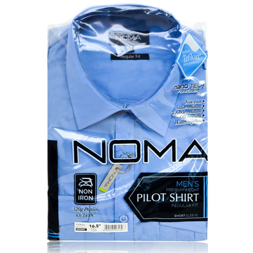 NSHA04-Noma Men's Pilot Shirt S/S-blue-pck
