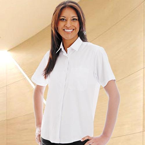 Ladies Oxford Blouse Short Sleeve-WBLL08-white