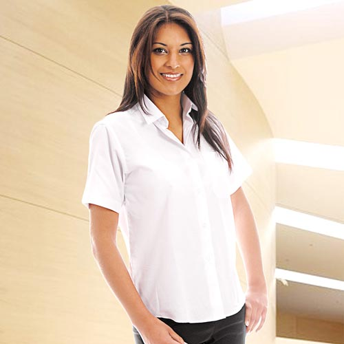 Ladies Classic Poplin Shirt Short Sleeve-WBLL10-main