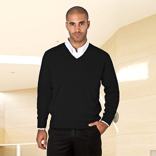 Wool-Mix V-Neck Knitted Jumper-WJUA01-black