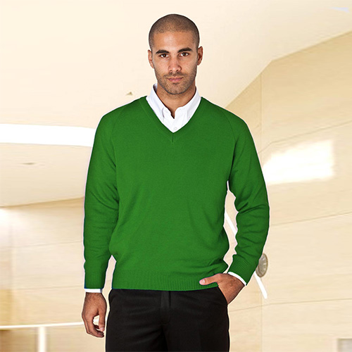 Wool-Mix V-Neck Knitted Jumper-WJUA01-bottle
