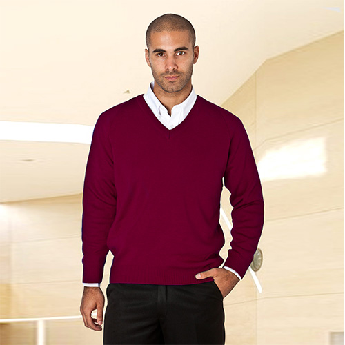Wool-Mix V-Neck Knitted Jumper-WJUA01-burgundy