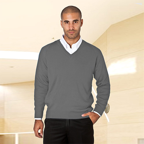 Wool-Mix V-Neck Knitted Jumper-WJUA01-grey