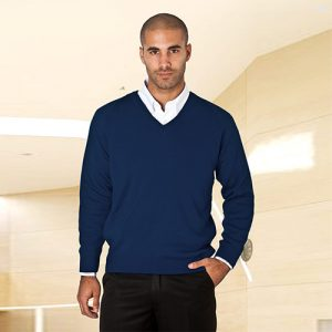 Wool-Mix V-Neck Knitted Jumper-WJUA01-navy