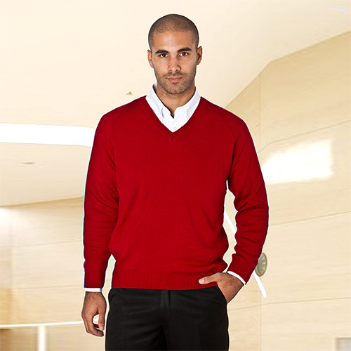 Wool-Mix V-Neck Knitted Jumper-WJUA01-redl
