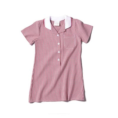 CLEARANCE - Girls' Gingham Check Dress - CDRK01-red