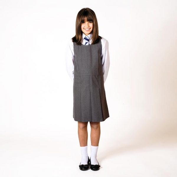 Girls' Pleated-Front Pinafore - CPIG02-grey