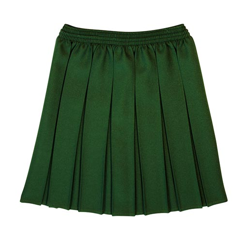 Girls' All Box Pleat School Skirt - Primary - CSKG01-bottle-green