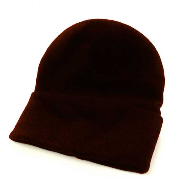 Fine Gauge Knitted Woolly Beanie Hat - GHAA02-brown