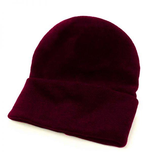 Fine Gauge Knitted Woolly Beanie Hat - GHAA02-burgundy