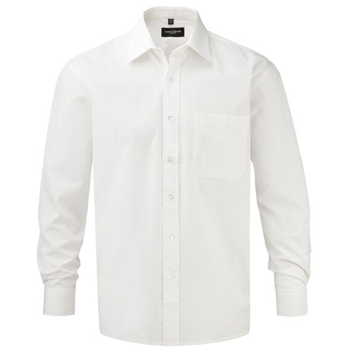 125g Pure Cotton Easy Care Poplin Shirt Long Sleeve - JSHA936-white