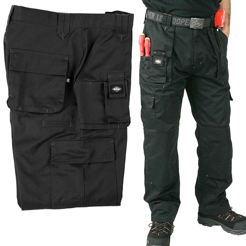 320g Classic Multi-pocket Cargo Black Trousers - LCPNT206