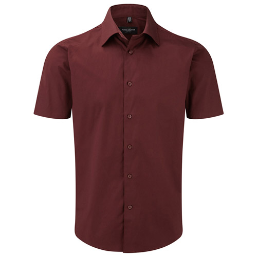 140g Easy-Care Cotton-Stretch Fitted Short Sleeve Shirt-JSHA947-Port