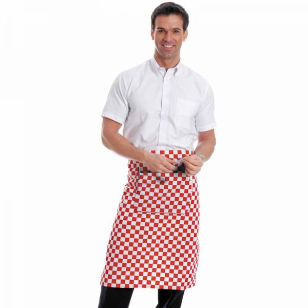 245gsm Waist Apron with Pocket - WAPA01-red-chess