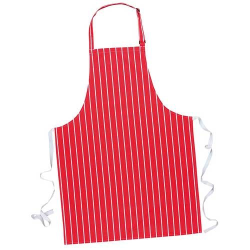 280g Striped Butchers Bib Apron (no pockets) - WAPA839-red
