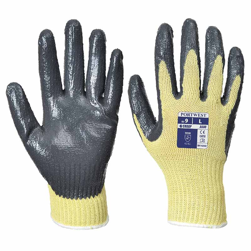Kevlar Nitrile Glove - WGLA600-black-yellow