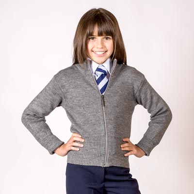 Girls' Knitted Stretch Zip Cardigan - CCAG02-grey