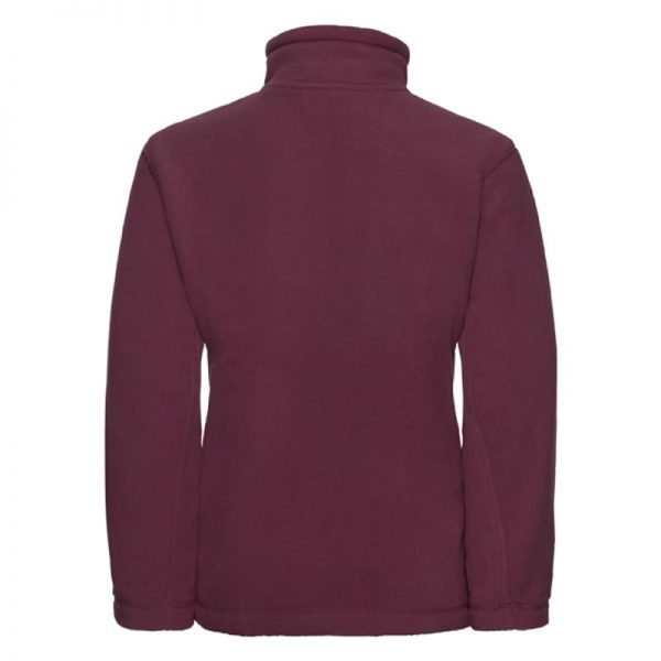 Kids Heavy Full Zip Outdoor Fleece - JFK870-burgundy-back