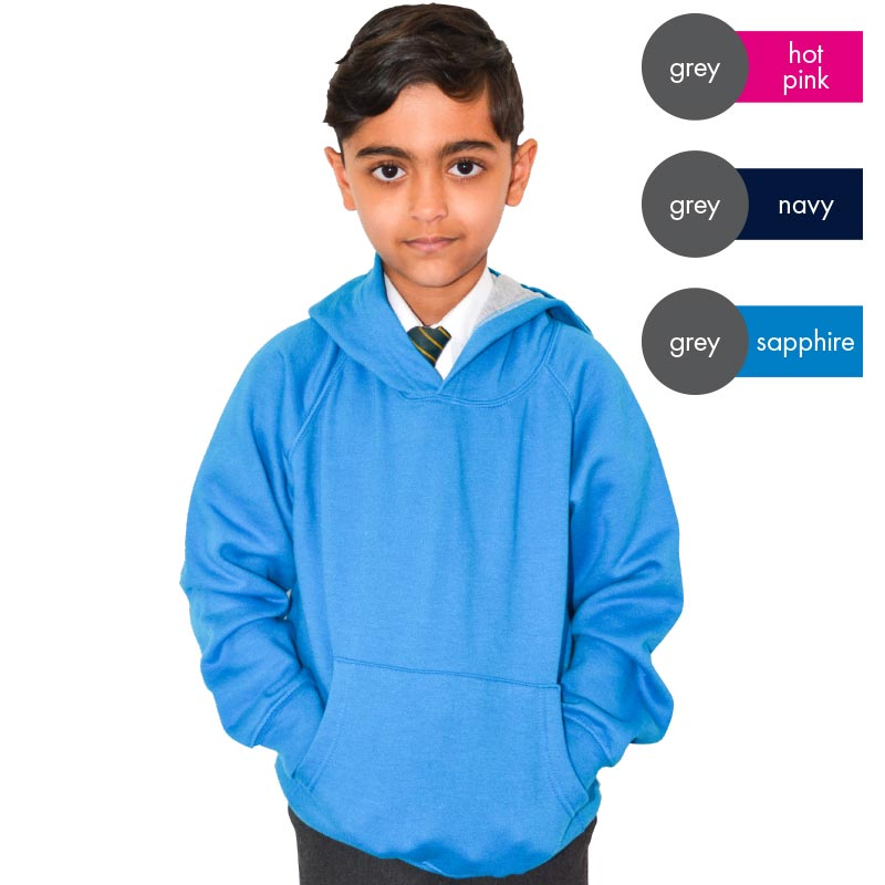 Kids Contrast Hooded Raglan Sweatshirt TSK07