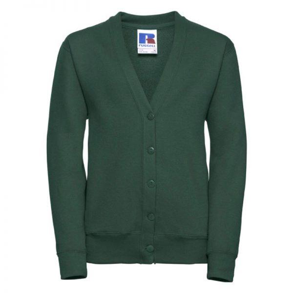 295g 50/50 PC Girls Sweatshirt Cardigan - JCK273-bottle-green