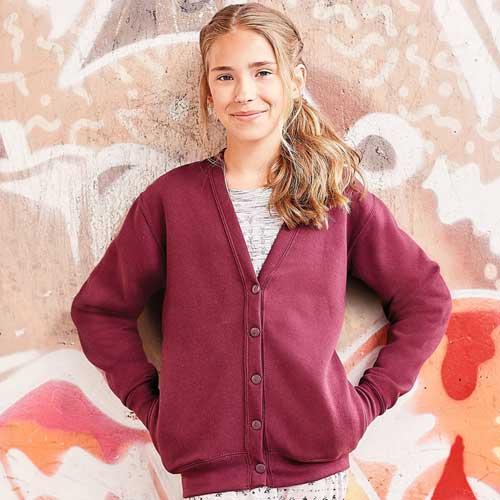 295g 50/50 PC Girls Sweatshirt Cardigan - 295g 50/50 PC Girls Sweatshirt Cardigan - JCK273-model2