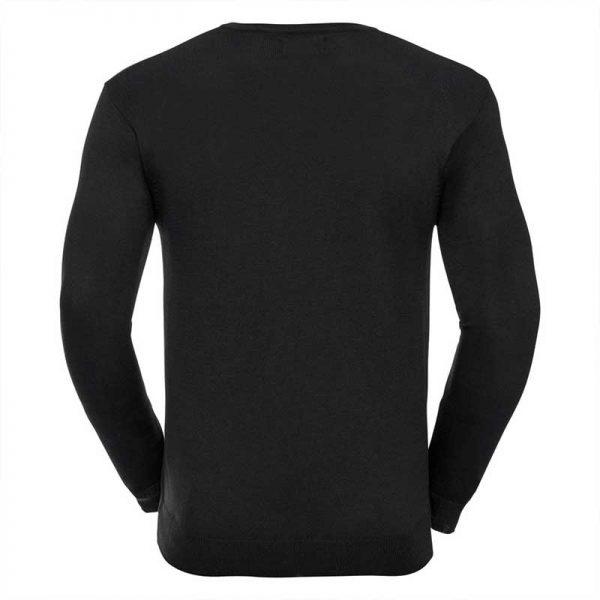 275g 50/50 Cotton-Acrylic V-Neck Knitted Pullover - JJUA710-black-back