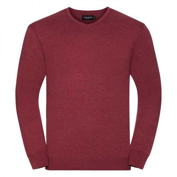 275g 50/50 Cotton-Acrylic V-Neck Knitted Pullover - JJUA710-cranberry