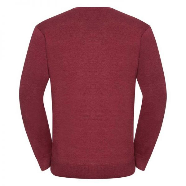 275g 50/50 Cotton-Acrylic V-Neck Knitted Pullover - JJUA710-cranberry-back