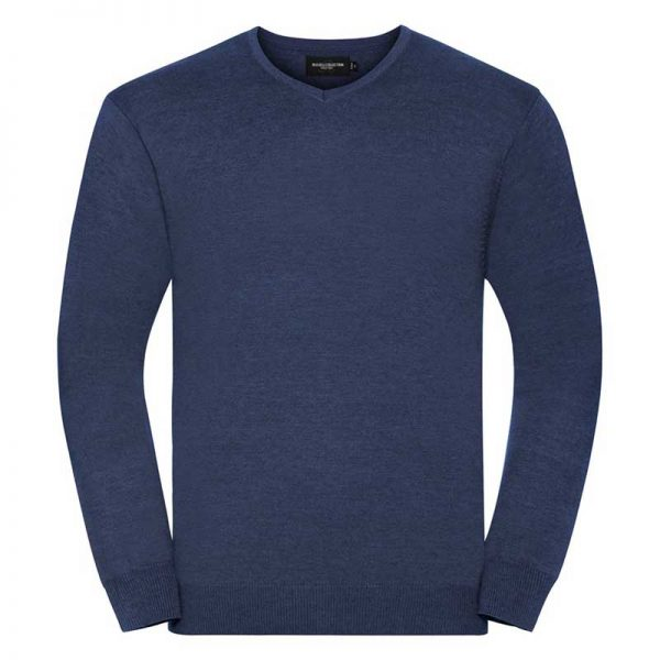 275g 50/50 Cotton-Acrylic V-Neck Knitted Pullover - JJUA710-denim