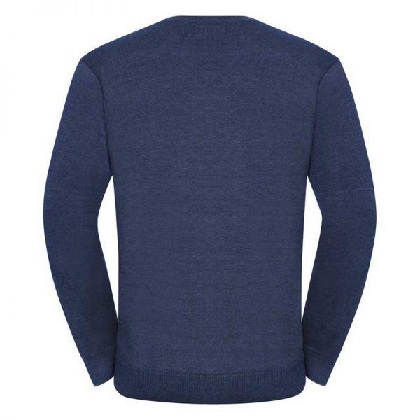 275g 50/50 Cotton-Acrylic V-Neck Knitted Pullover - JJUA710-denim0back