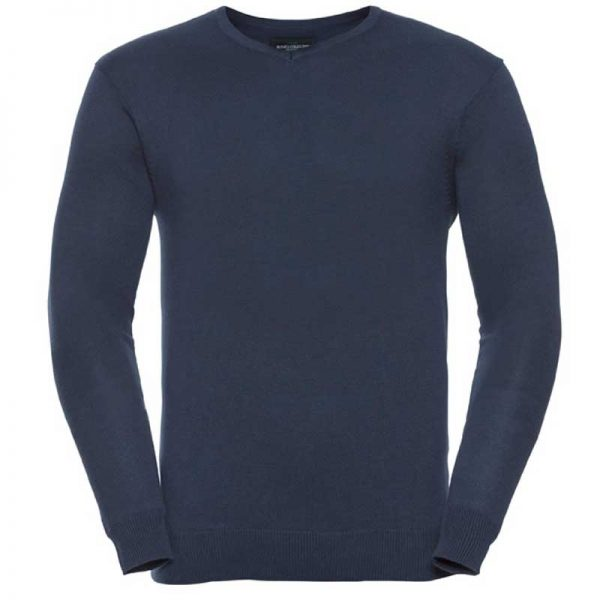 275g 50/50 Cotton-Acrylic V-Neck Knitted Pullover - JJUA710-french-navy