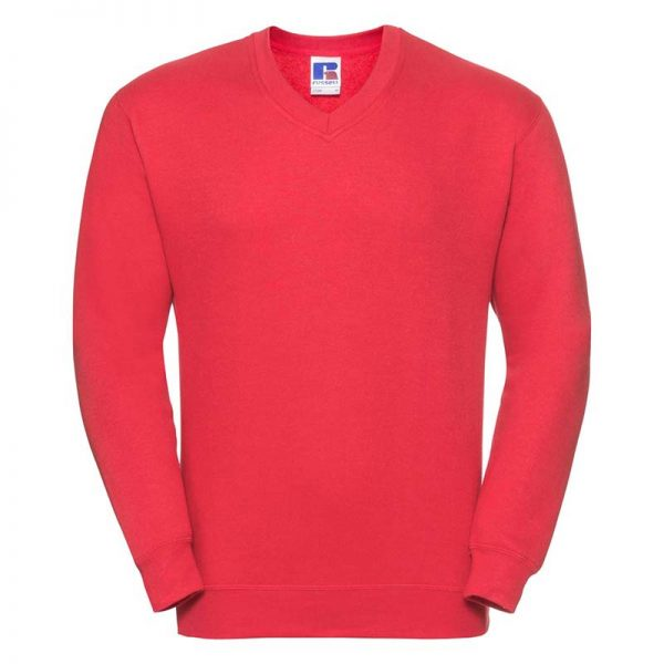 295g 50/50PC Mens V-neck Set-in Sweatshirt - JSA272-birght-red