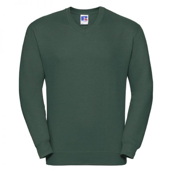295g 50/50PC Mens V-neck Set-in Sweatshirt - JSA272-bottle-green
