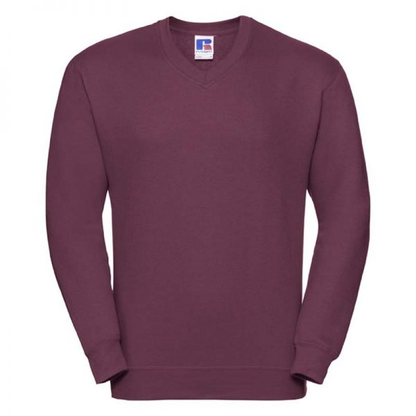 295g 50/50PC Mens V-neck Set-in Sweatshirt - JSA272-burgundy